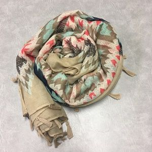 "Maurices 42"" Square Tan Tassel Tribal Print Scarf"